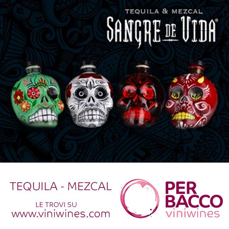"""Sangre De Vida"""" è la linfa vitale, che prende ispirazione dall'antica tradizione Maya di 3000 anni fa chiamata """"dias de los muertos"""", il giorno dei morti. Queste bellissime bottiglie di Tequila e Mezcal le trovi su viniwines.com"""