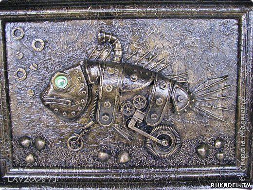 """Панно """"Мото рыба"""" в стиле стимпанк, своими руками - Стимпанк - Поделки из разных материалов - Каталог статей - Рукодел.TV"""