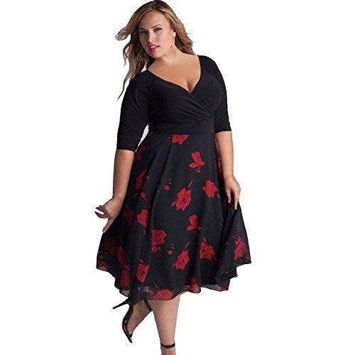 6f76dd249ea Teresamoon Women Plus Size Sexy V-Neck Dress (XXXL