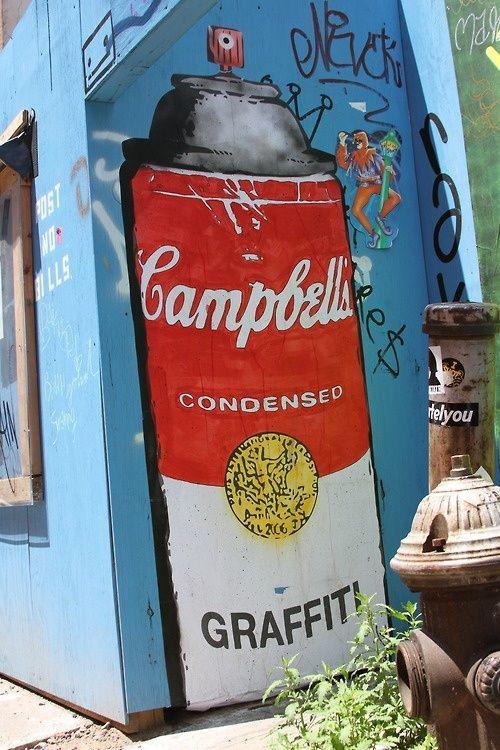 """Street art Warhol Campbell soup graffiti Artist : René Gagnon  """"Street Art: New York City"""""""