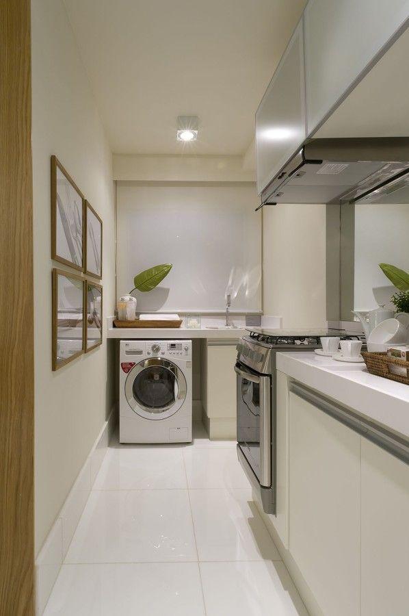 cozinha e área de serviço integradas