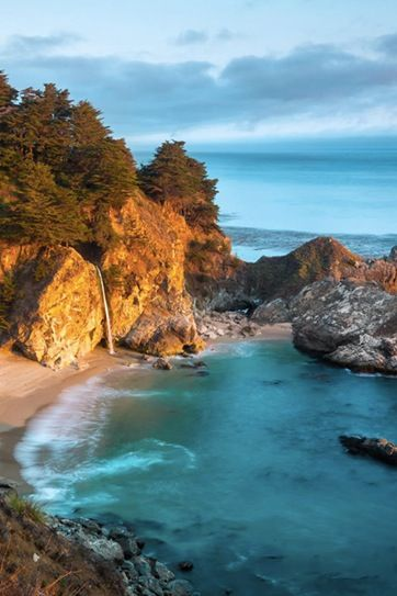 California Pacific Coast Highway 1: Monterey to Morro Bay, stopping in Big Sur to hike down McWay Falls. Stop for a glass of wine at Nepenthe, on a patio overlooking the water.