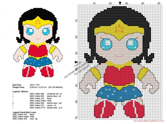 Baby Wonder Woman free Superheroes cross stitch patterns 49x69   Sew