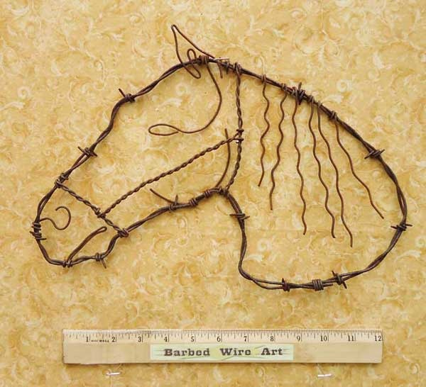 Barb wire Horse Head. Another ear and more mane and forelock needed