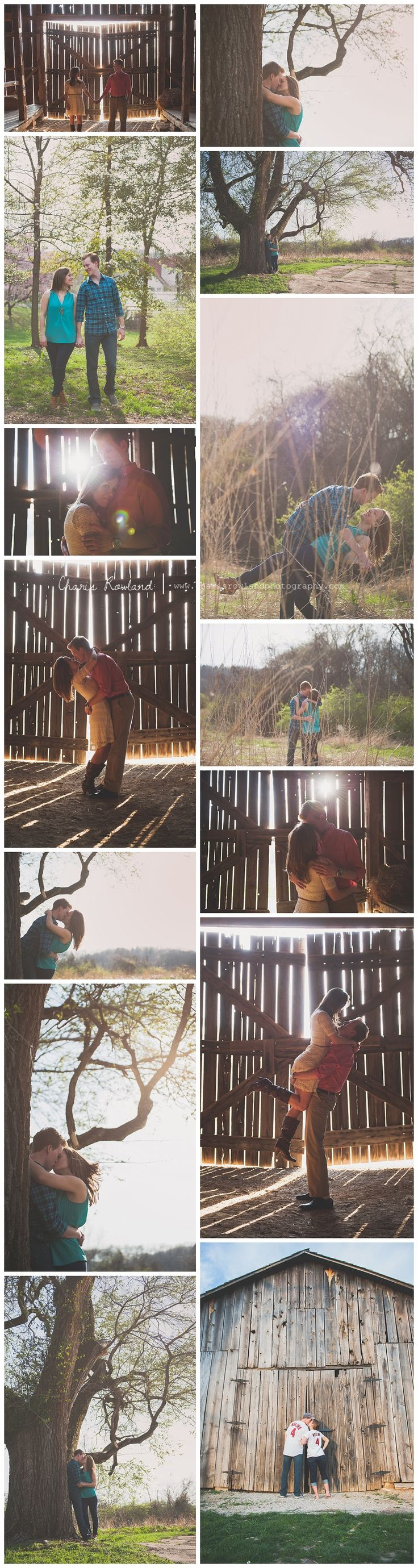 St. Louis wedding photographer, engagement photos, spring, field, barn, country, engagement poses