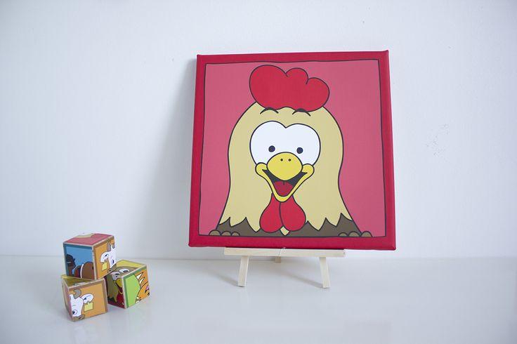 Ontzettend leuke kinderkamer of babykamer decoratie. Met dit mooie schilderij van een vrolijke kip gaat je dat zeker lukken. Op canvas gedrukt in de maten 20x20 cm en 30x30 cm. Je kan kiezen uit verschillende kleuren.