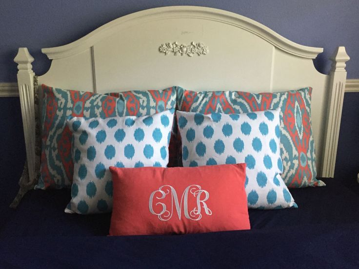 Bedding Coral and Aqua Bedding Ensemble including monogrammed pillow by OrangeBlossomBedding on Etsy https://www.etsy.com/listing/246475779/bedding-coral-and-aqua-bedding-ensemble