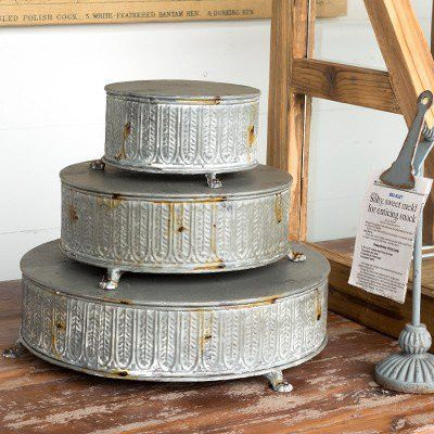 These stunning Vintage Style Round Tinwork Display Platforms are a Gin Creek favorite! Use these as impressive cake stands or as servers for your next party!