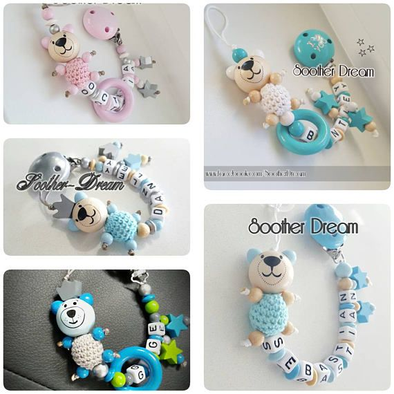 Please leave the child name and your color wishes while placing your order. Comes with 3D Bear or 3D Frog or 3D Mouse, Star or flower, mini bear or crown or /and mini ring and name. Please sent me a quick message to check for availability Babies LOVE chewing on their pacifier clips.