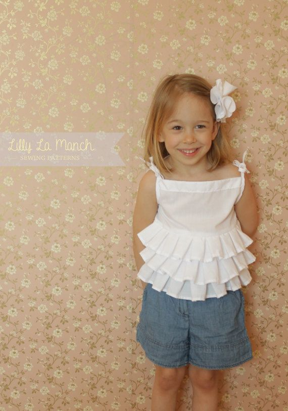 Step by step instruction and pattern for sewing girls ruffle blouse and hair clip #sewing #shirt #pattern