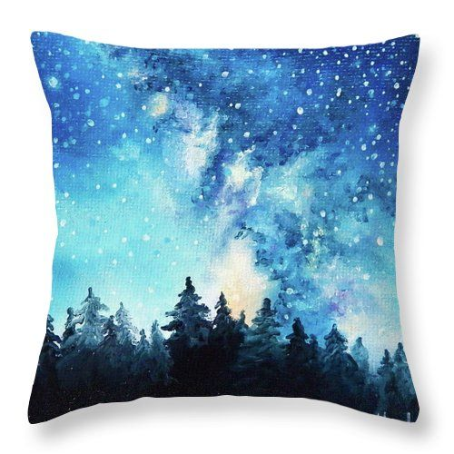 Milky Way aka Galaxy / Space Art meets home decor / home accent with throw pillows designed by Kari Weatherbee of The Old Mill Yard Art & Design Studio