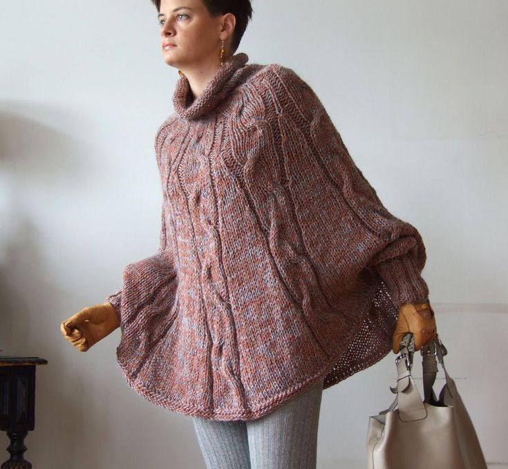 Hand knitted poncho  braided cape sweater, avant garde traffic stoper, hottest trend. fall fashion, fall foliage, copper and gray melange. $175.00, via Etsy.