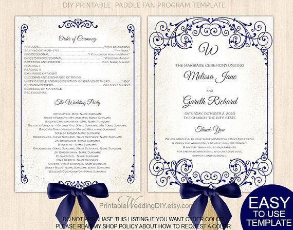 Navy Blue Wedding Fan Program Diy Printable Wedding Fan