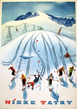 vintage ski poster. Jasna Tatras 1950