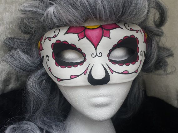 Day of the Dead Mask Pink Flower by EquinoxMasquerade on Etsy