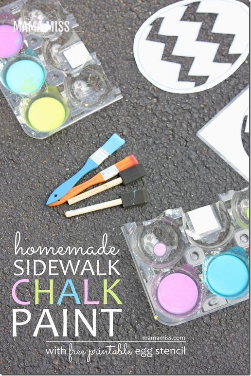 Homemade Sidewalk Chalk Paint | @mamamissblog #chalk #homemadepaint #outdoorplay