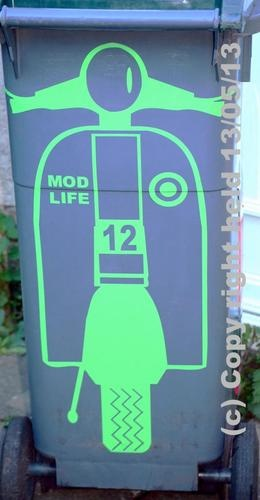Mod Life Scooter Wheelie Bin Decal With FREE Personalised Reg Plate