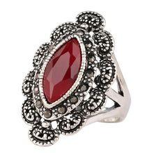 Hommes anneaux grande noir rouge pierres précieuses bague en argent Antique pour hommes femmes rétro Texture gravure modèle gros amant anneau(China (Mainland))