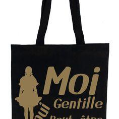 Tote bag , sac de cours noir gentille couleur or ou argent
