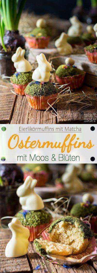 Ostermuffins mit Eierlikör, Matcha-Moos und Blüten