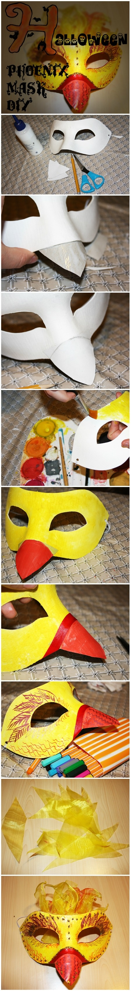 #Halloween #Phoenix #mask #DIY (except I would switch the red and the yellow-- Red face, yellow beak