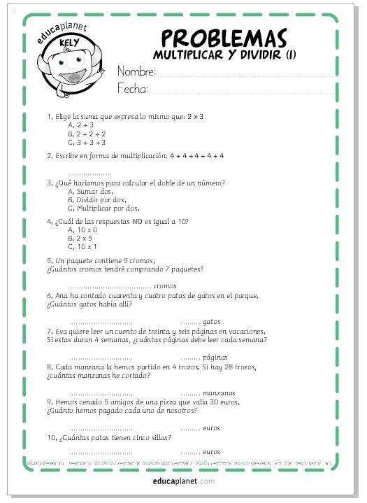 Fichas GRATIS para imprimir con problemas de multiplicaciones y divisiones. Para niños y niñas de 2 Primaria, desde 7 a 9 años.