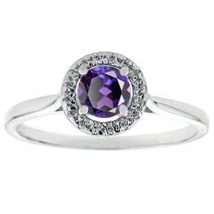 Halo Jewelry - Alexandrite Birthstone Diamond Halo Ring In White Gold Available Exclusively at Gemologica.com