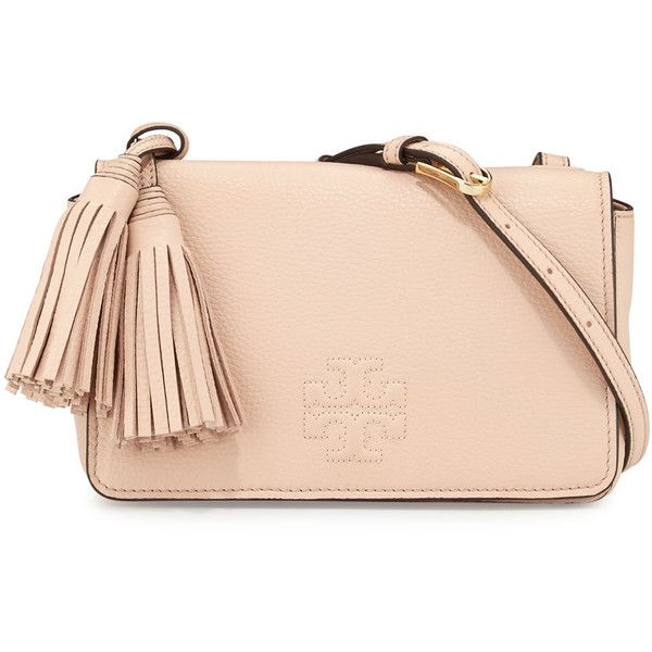 Tory Burch Thea Mini Leather Crossbody Bag (5.876.945 IDR) ❤ liked on Polyvore featuring bags, handbags, shoulder bags, sweet melon, tory burch handbags, leather crossbody, leather cross body purse, crossbody handbags and crossbody purse