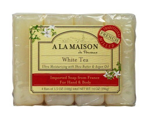 A La Maison Soap Bars Value Pack, White Tea, 4 Count by A La Maison. Real soap natural fragance made with aragan oil and shea butter. Made with aragan oil and shea butter. Ultra moisturizing real soap. La Maison moderne bath bar is the most luxurious bath bar you will ever find. Safe for use on face and body, this soap if full of wonderful things like jojoba oil and natural vegetable glycerin which actually actracts moisture to you skin.