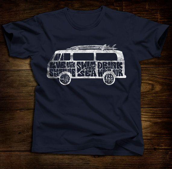 VW bus typography t-shirt : sunshine, sea, free spirit, wild heart, hippie van, surfing, ocean, vintage