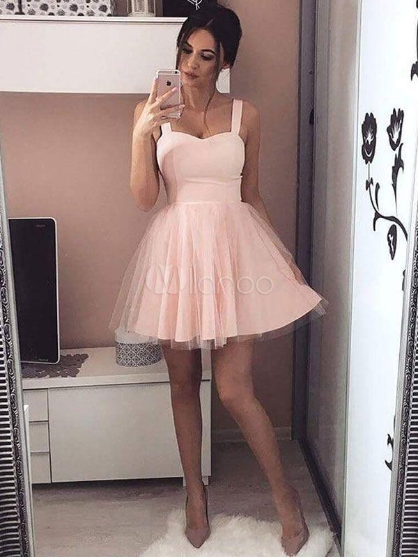eb46e3e559 Pink Skater Dress Short Party Dress Tulle Straps Women Flared Dress ...