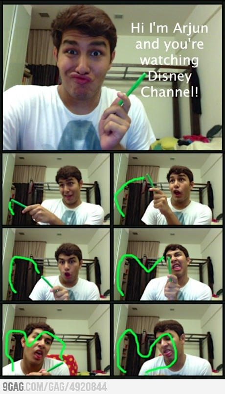 haha     his faces are the same as the real Disney channel people