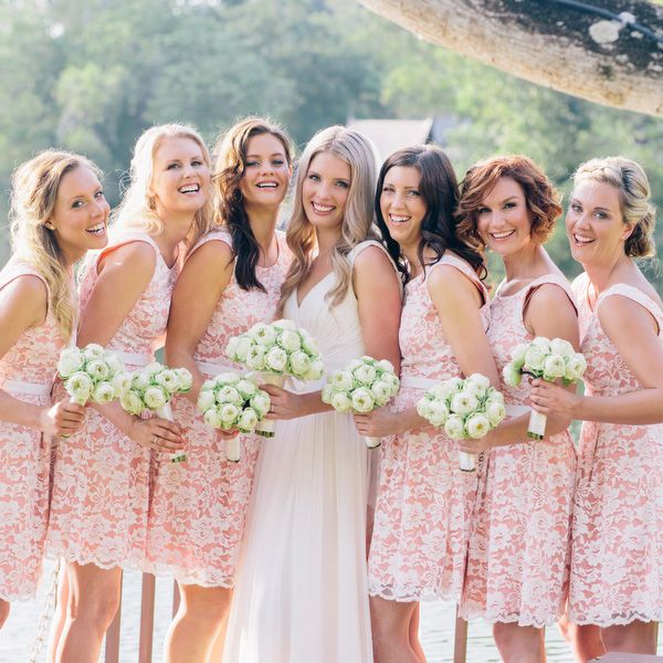 Bridesmaid dress with lace overlay
