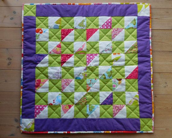 Beautiful baby quilt in purple lime and pink by SilverfernDK