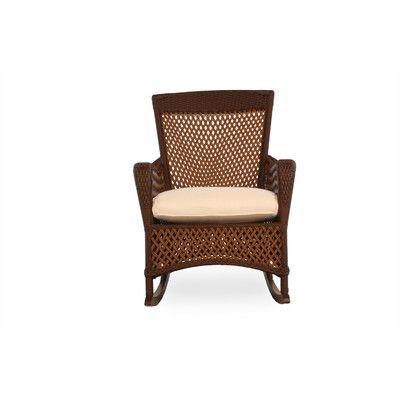 Lloyd Flanders Grand Traverse Porch Rocking Chair with Cushion Finish: Caramel, Fabric: Dupione Latte
