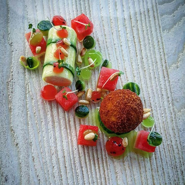 """By @alanhigginschef """"Ardsallagh goat's cheese beignet and mousse, pickled watermelon, cucumber, mint oil, toasted pine nuts."""" #instafood #instagramanet #instatag #food #foodporn #foodie #foodgasm #foodpics #foodpic #foodstagram #foods #foodphotography #foodies #foodlover #foodforthought #foodisfuel #foodblogger #foodcoma #foodgram #fooddiary #foodblog #foodlovers #foodart #foodspotting #foodshare #foodlove #yum #hungry #foodartchefs #vegetarian"""