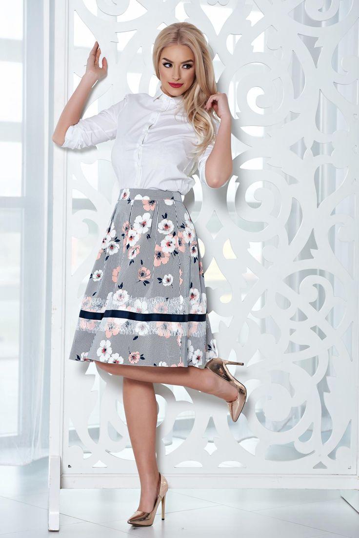 Comanda online, Fusta midi in clos LaDonna piersica cu imprimeu floral. Articole masurate, calitate garantata!