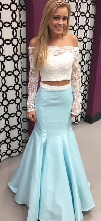 05bc21374159 gorgeous 2018 two piece long prom dress, long sleeves prom dress, white lace  and ice blue long prom dress, mermaid long prom dress