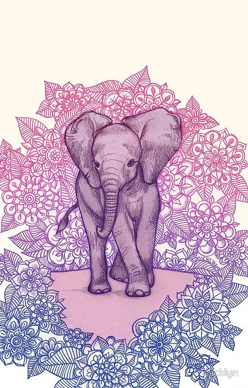Elefante-Floral (Fondo de pantalla)