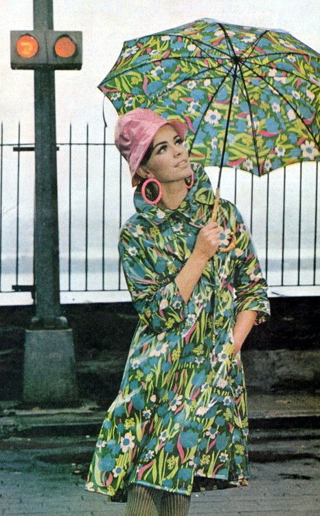 Mod •~• lady with matching floral raincoat and umbrella, Ladies Home Journal, March 1966