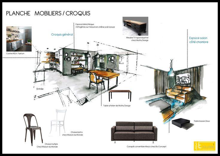 21 best images about planche de recherche on pinterest for Dessin architecte interieur