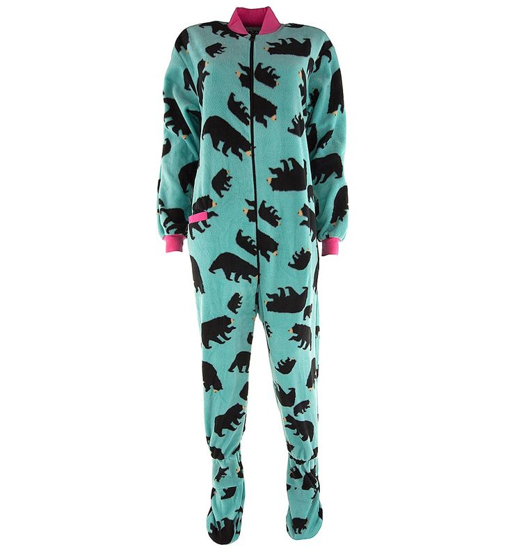 Lazy One Teal Bear Footed Pajamas for Adults - Click to enlarge