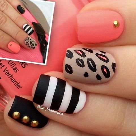 Very cute black, white, coral & nude nail design with stripes, abstract leopard print & studs sealed with a matte top coat #AW14...x