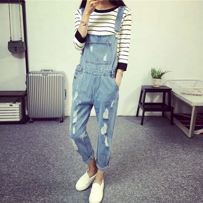 Korean Style Summer Denim Jumpsuits 2016 Fashion Women's Overalls Female Hole Denim Strap Trousers Preppy Style Loose Slim S-ML