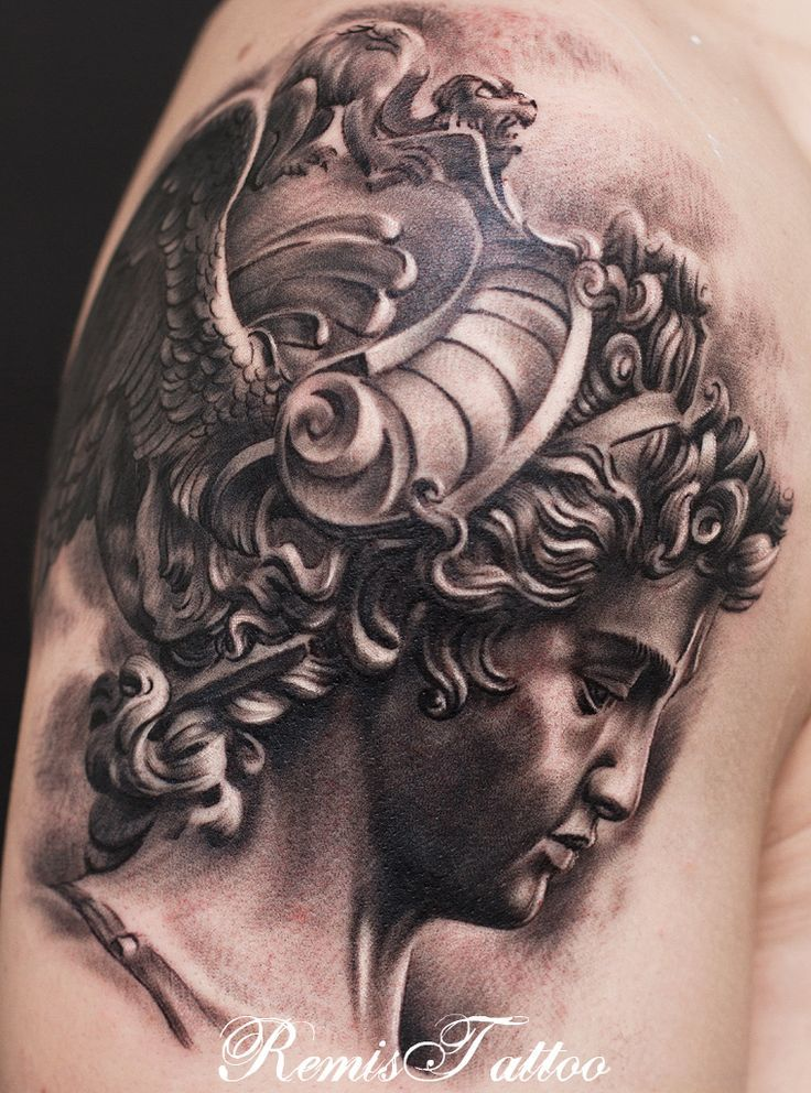 Grey Ink 3D Girl Face Statue Tattoo Design For Shoulder By Remis
