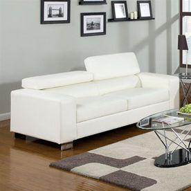 Furniture Of America Makri White Faux Leather Sofa Cm6336wh-S