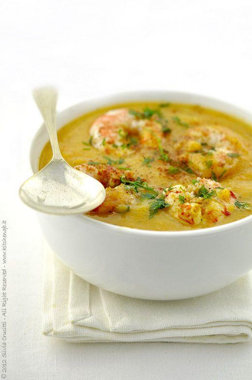 Crema di zucca e verdure speziate con gamberi #try