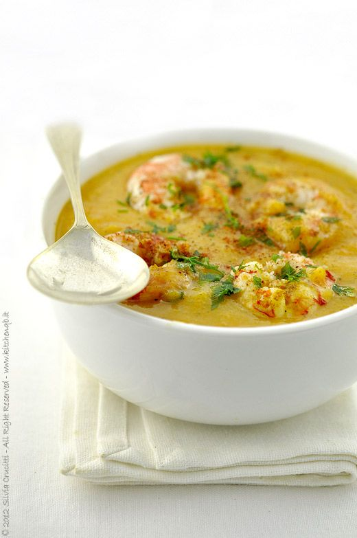 Crema di zucca e verdure speziate con gamberi / Cream of pumpkin and spiced vegetables with shrimp
