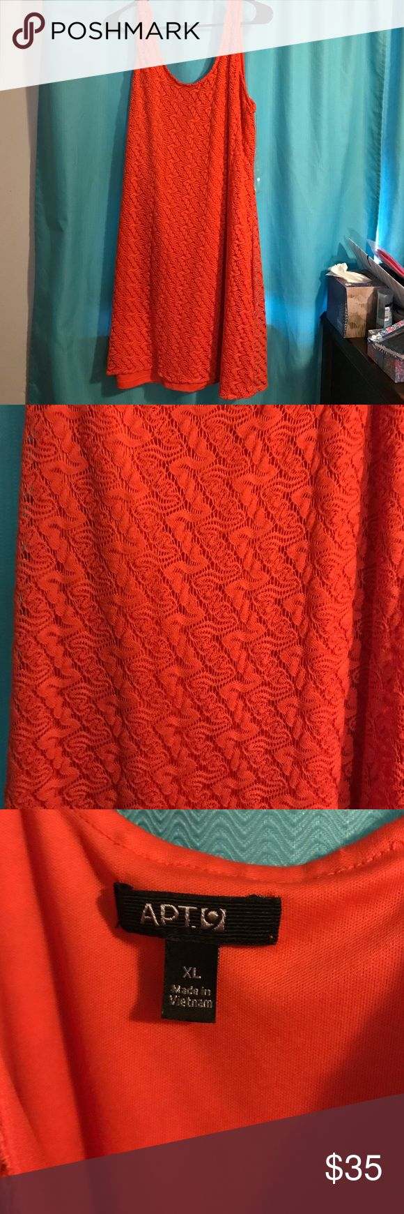 Fun Orange Lace Dress EUC fun orange Lace dress. Lace with orange slip underneath. Great pop of color for any outfit! Size XL Apt. 9 Dresses Midi