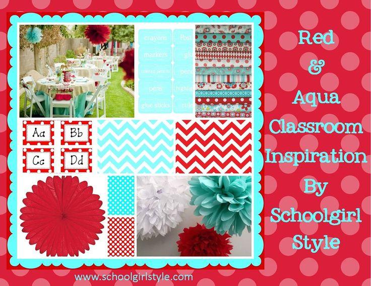 polka dot themed classroom | Red and aqua turquoise classroom inspiration themes chevron polka dots ...